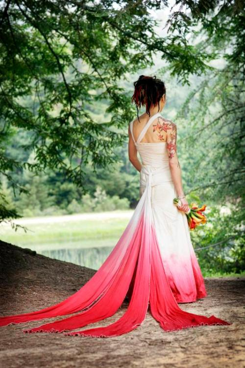 Ombre dyed raw silk gown jessica hinel designs for Jessica designs international wedding dresses